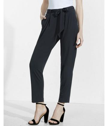 Express Womens Petite Mid Rise Jersey Paperbag Pant