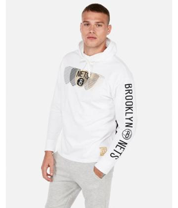 Express Mens Brooklyn Nets Nba Heavy Weight Foil Graphic Hooded Tee