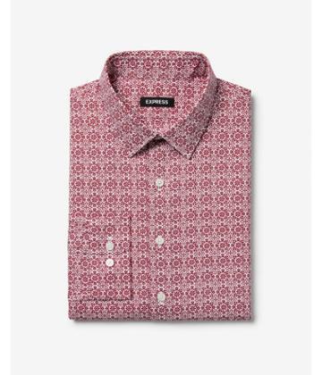 Express Mens Extra Slim Geometric Pattern Dress