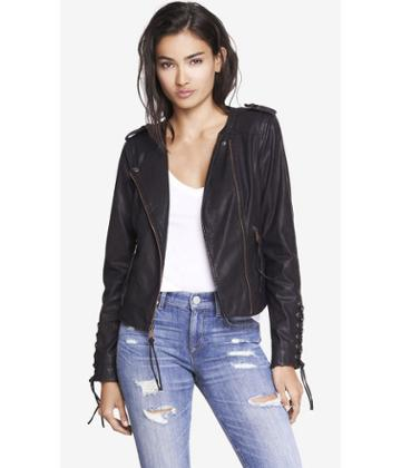 Express Express Women's Leather Jackets Lace Up (minus The) Leather