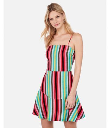 Express Womens Striped Tie Back Ruffle Hem Linen-blend Dress