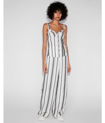 Express Womens Striped Linen-blend Corset Tank