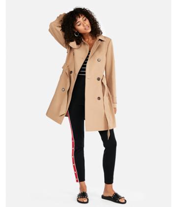 Express Womens Short Tie Waist Trench Coat