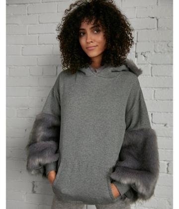 Express Womens Faux Fur Hoodie