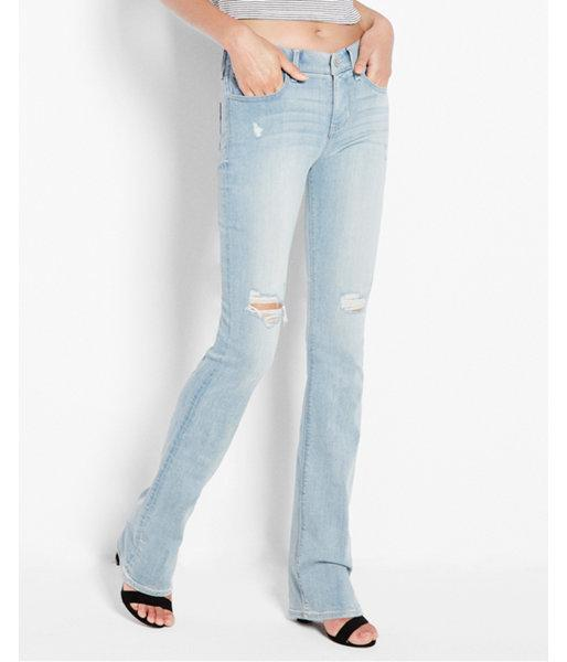 Express Womens Mid Rise Distressed Barely Boot Jean