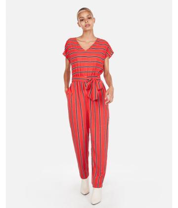 Express Womens Petite Stripe V-neck Short Sleeve Jumpsuit