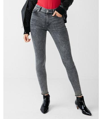 Express Womens High Waisted Gray Stretch Ankle Jean
