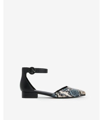 Express Womens Snakeskin Ankle Strap Low Heeled Flats