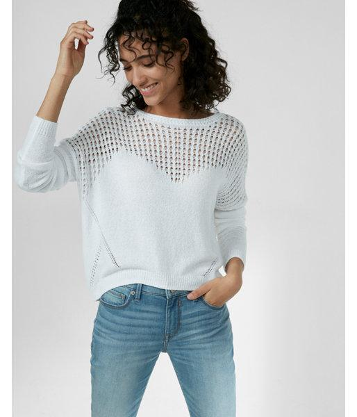 Express Crochet Yoke Scoop Back Pullover