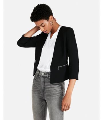 Express Womens Zip Pocket Cutaway Blazer