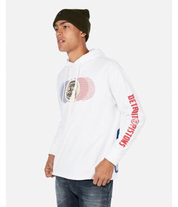 Express Mens Express Mens Detroit Pistons Nba Heavy Weight Foil Graphic Hooded Tee