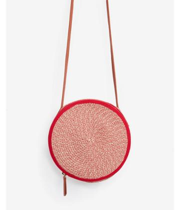 Express Womens Red Woven Straw Circle Crossbody