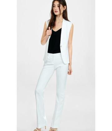 Express Women's Dress Pants White Barely Boot Editor Pant