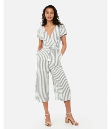 Express Womens Striped Surplice Tassel Culotte Jumpsuit