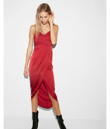 Express Womens Satin Wrap Fit And Flare
