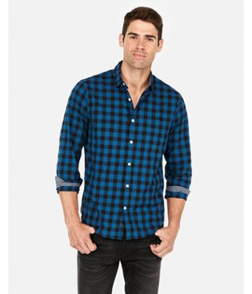 Express Mens Slim Plaid Soft Wash Button Collar