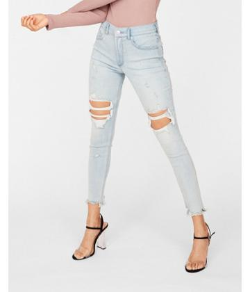 Express Womens Express Womens Petite High Waisted Light Wash Destroyed Denim Perfect Stretch+ Ankle