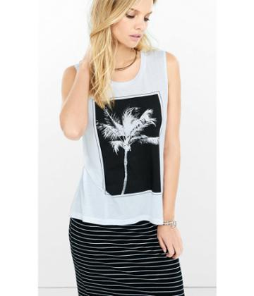 Express Women's Tanks Express One Eleven Palm Tree Graphic Tank
