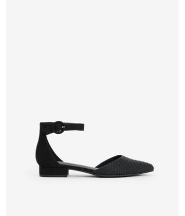 Express Womens Textured Ankle Strap Low Heeled Flats