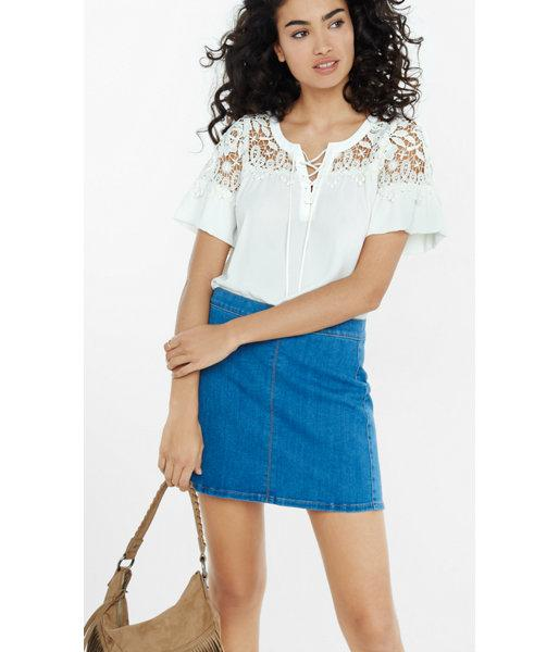Express Women's Tops Lace-up Crochet Yoke Blouse