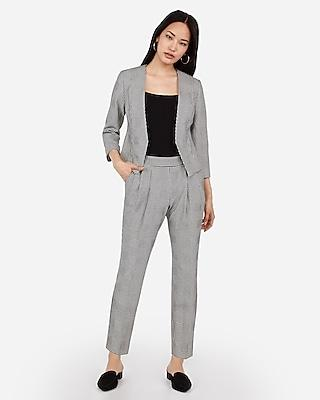 Express Womens Mid Rise Houndstooth Print Pull-on Ankle Pant