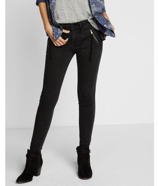 Express Womens Mid Rise Black Ankle Jean