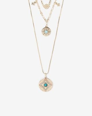 Express Womens Wrapped Geometric Pendant Necklace