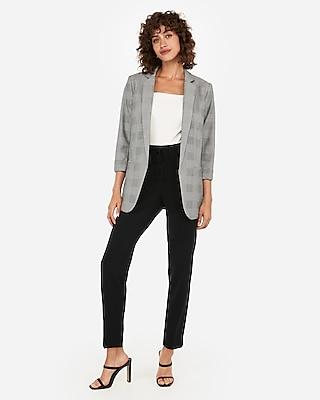 Express Womens Plaid Rolled Sleeve Boyfriend Blazer
