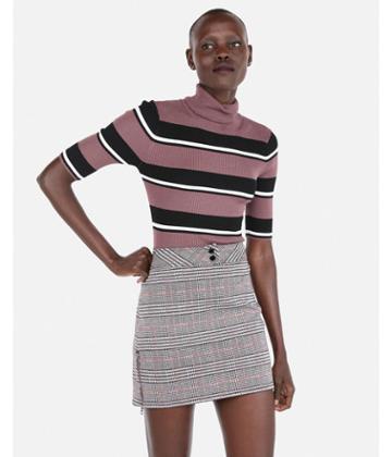 Express Womens Stripe Ribbed Elbow Sleeve Turtleneck