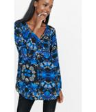 Express Women's Tops Blurred Foral Strappy Neck Tunic