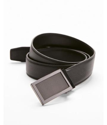 Express Mens Textured Framed Plaque Belt