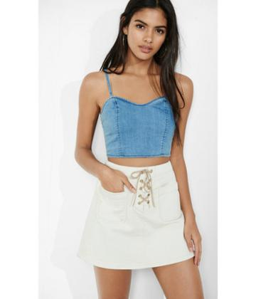 Express Women's Tops Denim Crop Top