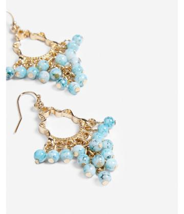 Express Turquoise Beaded Cluster Drop Earrings