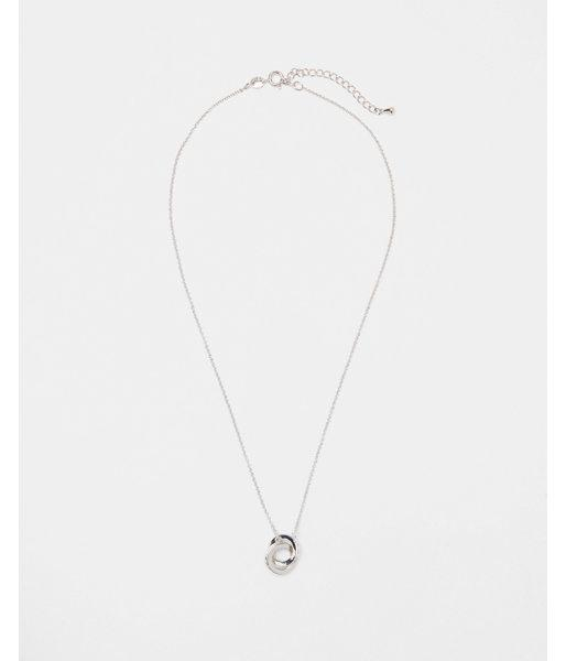 Express Womens Cubic Zirconia Interlocking Circle Drop Necklace