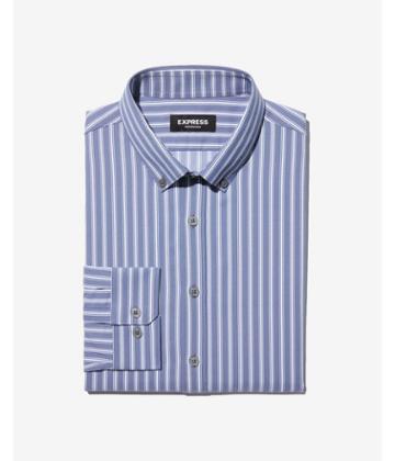 Express Mens Slim Striped Wrinkle-resistant Performance Dress