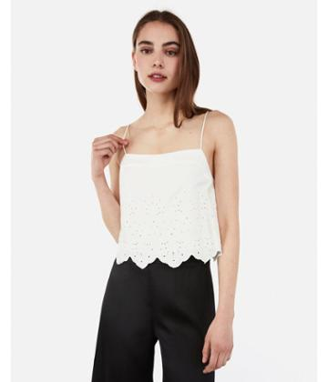 Express Womens Embroidered Eyelet Square Neck Cropped Cami