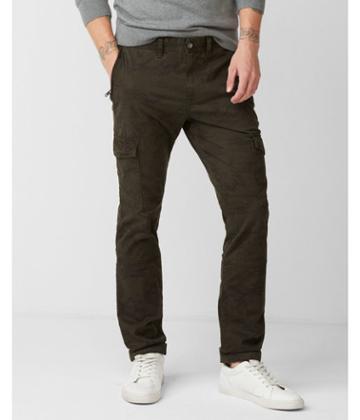 Express Mens Skinny Garment Dyed Camo Stretch Cargo Pant