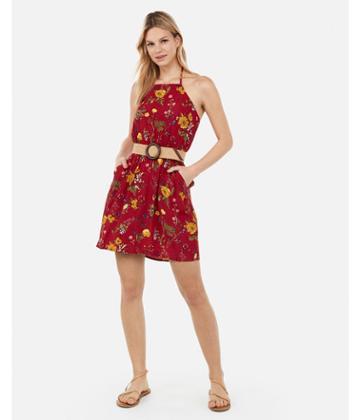 Express Womens Floral Print High Neck Elastic Waist Halter Dress