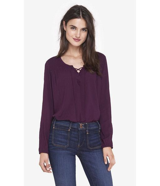 Express Women's Tops Lace Up Boho Blouse