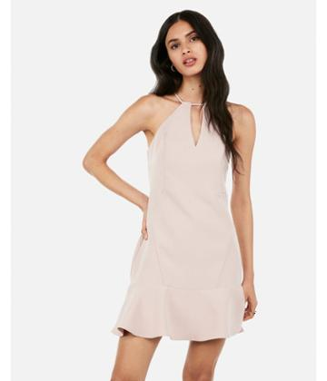 Express Womens High Neck Keyhole Cut-out Flounce  Dress
