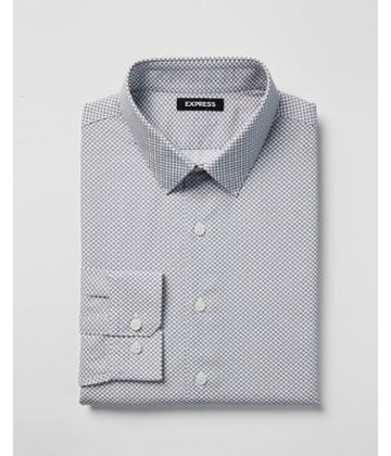 Express Mens Slim Micro Print Point Collar Dress
