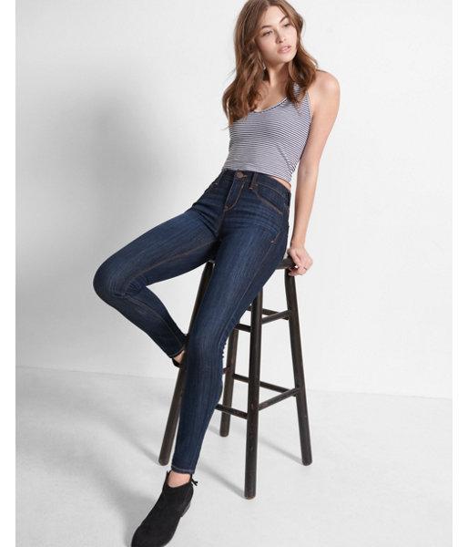 Express Womens Petite Dark Wash Mid Rise Jean