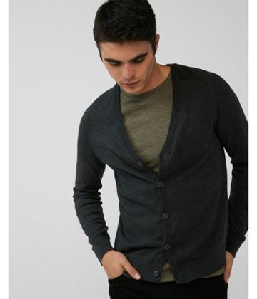 Express Mens Hint Of Cashmere V-neck Cardigan