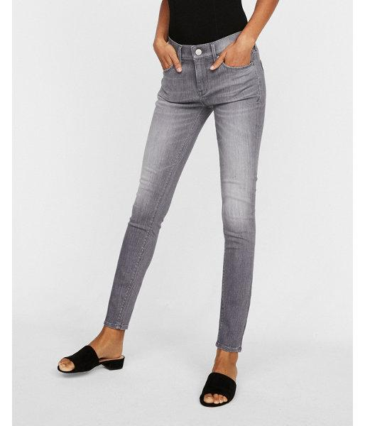 Express Womens Mid Rise Gray Stretch Jean