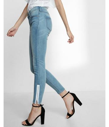 Express Mid Rise Contrast Zipper Ankle Jean