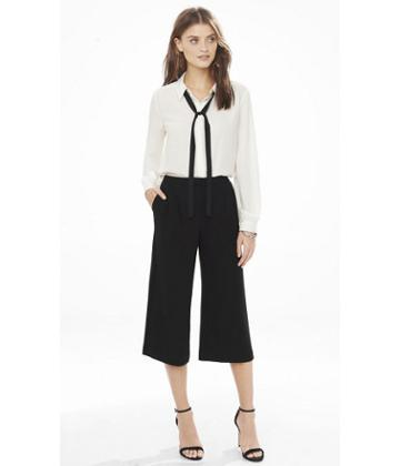 Express Express Womens Black Pleated Front Culottes