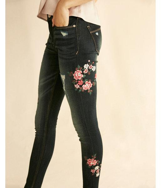 Express Womens Mid Rise Embroidered Stretch Jean