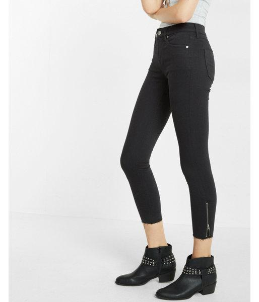 Express Womens Black Mid Rise Zip Ankle Cropped Jean