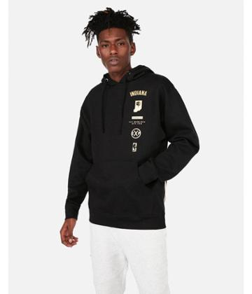 Express Mens Indiana Pacers Nba Fleece Foil Graphic Hoodie