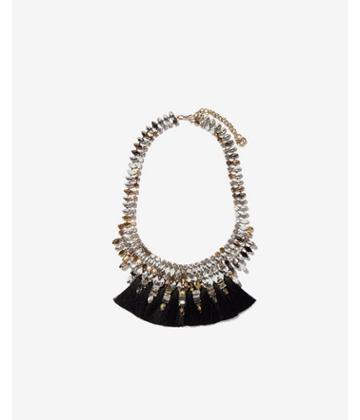 Express Womens Stone Tassel Statement Necklace
